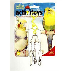JW Pet Company Activitoy Fork Knife and Spoon Small Bird Toy Colors Vary