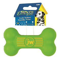 JW Pet Company iSqueak Bone Rubber Dog Toy Small Colors Vary