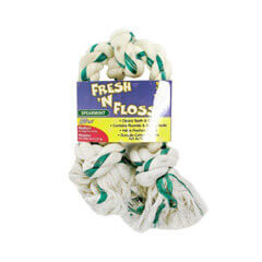 FRESH-N-FLOSS 3-KNOT BONE, Color: SPEARMINT; Size: MEDIUM (Catalog Category: Dog:TOYS)