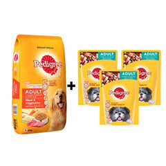 Pedigree Adult Dog Food Meat Vegetables 20kg + ( Free 3Pc Pedigree Puppy Chicken Chunks Flavour in Gravy 80gms )