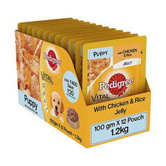 Pedigree Puppy Chicken & Rice Flavor Wet Gravy (100 gm x 12 Pouch)