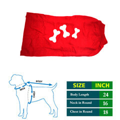 Dog Red Sweater with 3 Bone Sticker 24 no