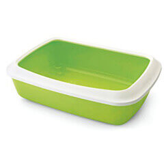 Savic Cat Litter Tray Oval and Rim Large, White/Lemon Green