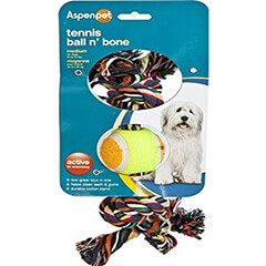 Aspen Pet Products Tennis Ball N Bone Toy, Medium