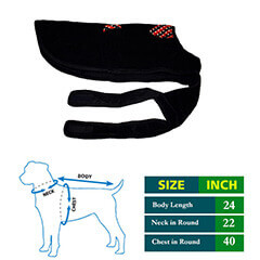 Dog Coat Black Cottrige with Butterfly Collar 24 no