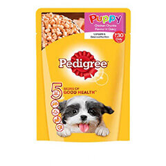 Pedigree Puppy Chicken Chunks Flavour in Gravy 80 gm (Pack Of 15)