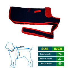 Dog Coat Cute Navy Blue with Red Collar 24 no