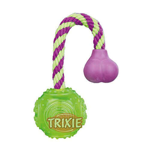 Trixie Ball on a Rope Thermoplastic Rubber Dog Toy